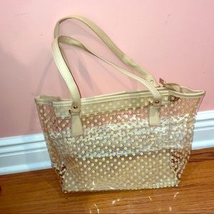 Handbags - NWOT clear polka dot beach bag